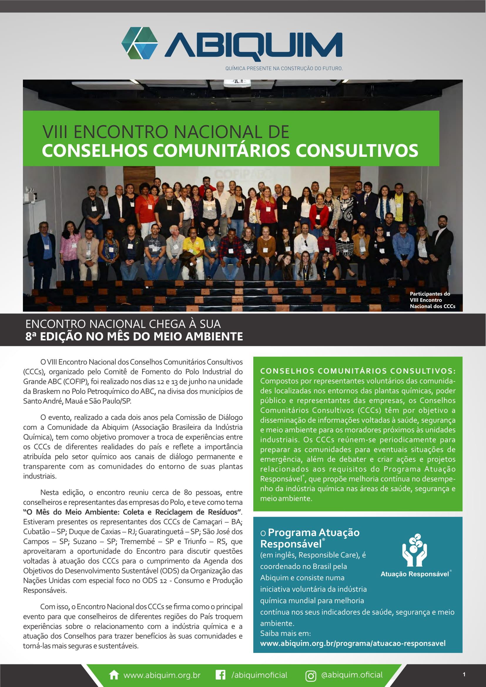 VII Encontro Nacional de Conselhos Comunitários Consultivos